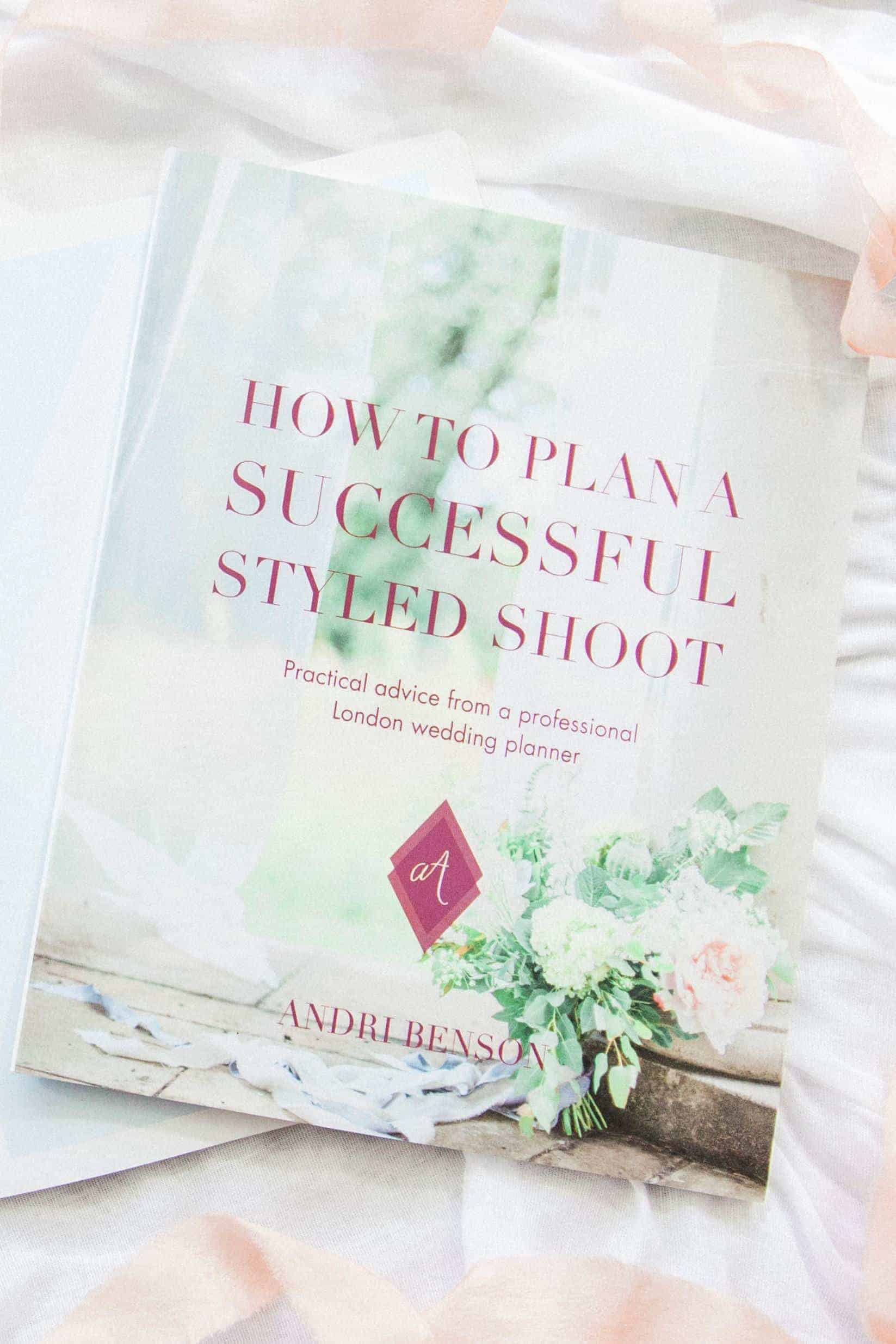 wedding industry styled shoot ebook on table