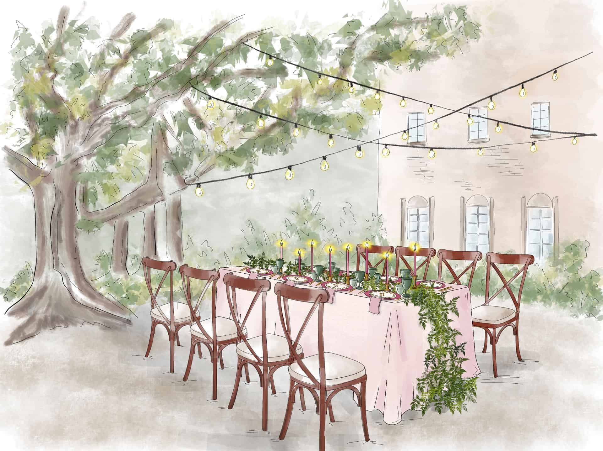 handdrawn illustration of outdoor wedding set up