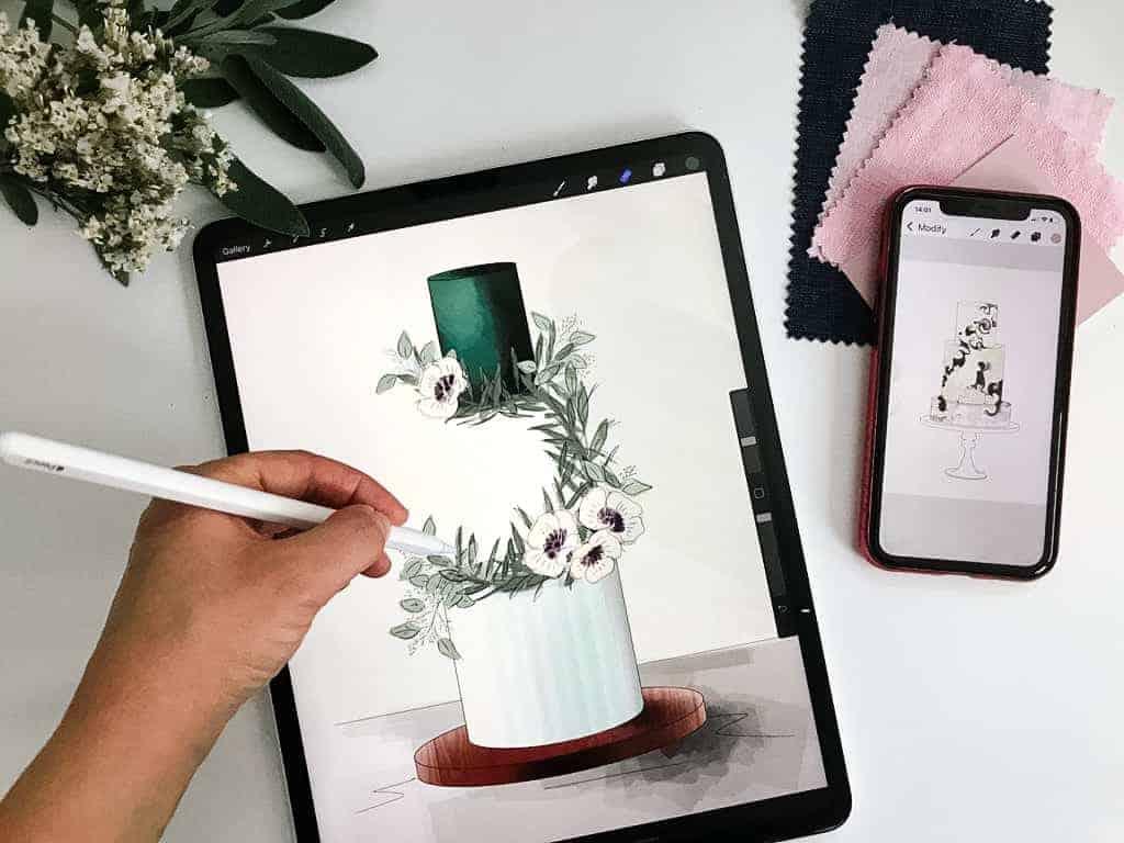 flatlay of a digital cake design being drawn
