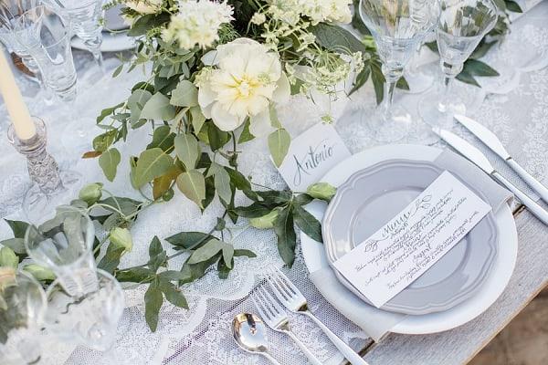 table setting wedding photoshoot