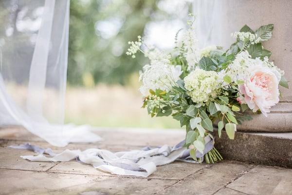 wedding bouquet set up for wedding photoshoot